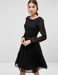 Y.A.S Marissa Long Sleeve Dress With Lace Insert Black