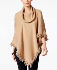 Alfani Faux Fur Trim Poncho Sweater Only At Macy's Modern Camel