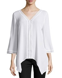 Neiman Marcus Sheer Crochet Trim V Neck Crinkle Tunic White