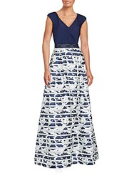Teri Jon Knot Front Printed V Neck Gown Navy