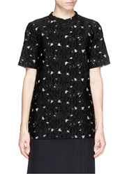 Lanvin Flower Reverse Fil Coupe Lace T Shirt Black