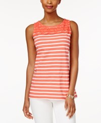 Charter Club Petite Striped Crochet Detail Tank Top Only At Macy's Modern Coral