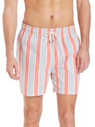 Solid And Striped Relaxed Fit Swim Trunks Coral Cream