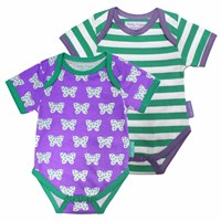 Toby Tiger Butterfly Baby T Shirt 2 Pack White Green Pink