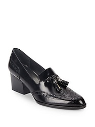 Stuart Weitzman Girlthing Leather Tassel Wingtip Pumps Black