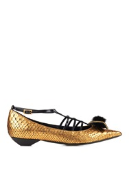 Lanvin Mink Fur Bow Python Point Toe Flats