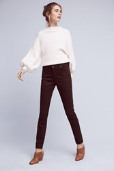 Anthropologie Ag Prima Mid Rise Sateen Skinny Jeans Brown