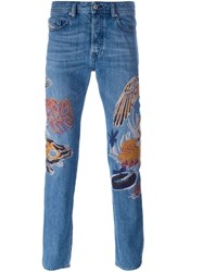 Diesel Embroidered Slim Fit Jeans Blue