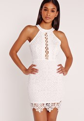 Missguided Lace Up High Neck Bodycon Dress White White