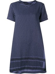 Cecilie Copenhagen Keffiyeh Cotton Short Sleeve Dress Blue