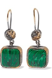 Bottega Veneta Oxidized Silver Malachite Earrings Silver Green