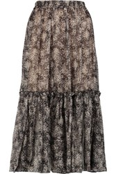 Michael Kors Collection Printed Silk Chiffon Midi Skirt Dark Brown