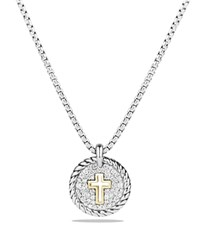 David Yurman Cable Collectibles Cross Charm Necklace With Diamonds With 18K Gold White Gold