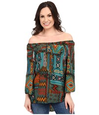Scully Ballencia Off The Shoulder Sexy Tunic Jade Women's Blouse Green