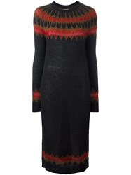 Laneus Zigzag Knit Dress Black