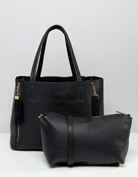 Oasis Real Suede Mix Shopper Bk1 Black