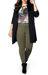 Mblm By Tess Holliday Plus Size Women's Long Ponte Jacket With Faux Leather Trim