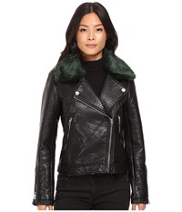 Blank Nyc Vegan Leather Removeable Green Faux Fur Collar In Speaking Terms Black Green Faux Fur Women's Clothing