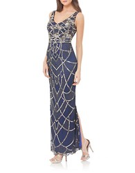 Js Collections Art Deco Beaded Gown Navy Mercury