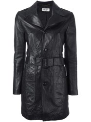 Saint Laurent 70'S Short Leather Coat Black