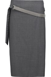 Brunello Cucinelli Belted Wool Blend Crepe Skirt Dark Gray