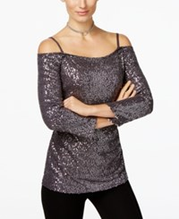 Inc International Concepts Sequin Cold Shoulder Top Only At Macy's Silver