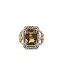 Jude Frances 18K Champagne Citrine And Diamond Cocktail Ring Size 6.5
