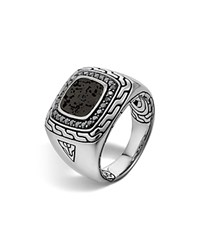 John Hardy Men's Sterling Silver Classic Chain Square Ring With Black Volcanic Rock And Black Sapphire Lava Silver Black