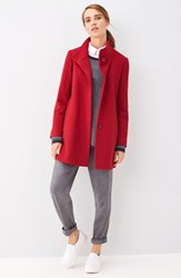 Fleurette Petite Women's Loro Piana Wool Car Coat Red