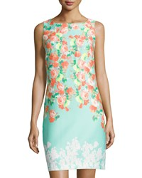 Donna Ricco Sleeveless Floral Print Sheath Dress Aquarelle