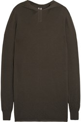 Rick Owens Textured Knit Cashmere Hooded Sweater Green