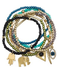 Bar Iii Gold Tone Mixed Bead And Multi Charm Stretch Bracelet Set