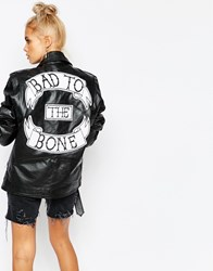 The Ragged Priest Real Leather Biker Jacket With Bad To The Bone Back Detal Black