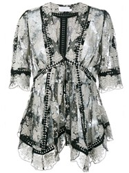 Zimmermann Floral Embroidery Blouse Black