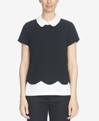 Cece Colorblocked Scalloped Peter Pan Collar Top Rich Black