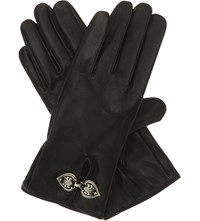 The Kooples Engraved Clasp Leather Gloves Black