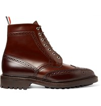 Thom Browne Two Tone Leather Brogue Boots Brown