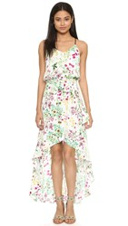 Wayf High Low Midi Dress Ivory Floral