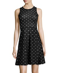 Neiman Marcus Polka Dot Sleeveless Sweater Dress Black White