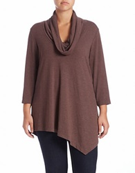 Grace Elements Plus Plus Cowl Neck Pullover Timber Brown