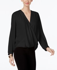 Inc International Concepts Wrap Blouse Only At Macy's Deep Black