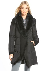 Mackage Long Down Coat With Genuine Toscana Shearling Trim Black