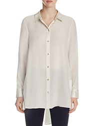 Eileen Fisher High Low Silk Button Down Tunic Bone