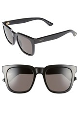 Gucci Women's 52Mm Retro Sunglasses Shiny Black Brown Grey Shiny Black Brown Grey