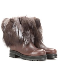 Jimmy Choo Dana Fur And Leather Boots Brown