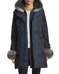 Moncler Elestoria Two Piece Puffer Coat W Fur Trim Navy