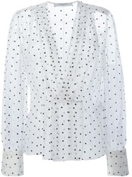 Givenchy Cross Print Sheer Blouse White