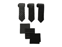 Stacy Adams 3 Pack Tie Assortment With Pocket Squares Black Ties