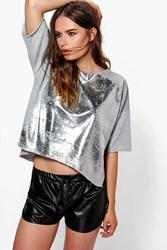 Boohoo Foil Print Boxy Sweat Grey
