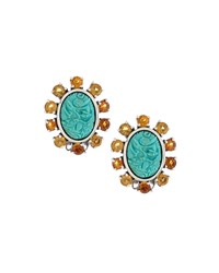 Stephen Dweck Oval Carved Turquoise And Citrine Cluster Clip Earrings Women's